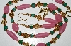 "MBA #B6-130  ""Pink & Green Glass Bead Necklace & Matching Earring Set"""