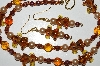 "MBA #B6-180  ""Fancy Amber Glass Elephant, Crystal & Glass Pearl Necklace & Earring Set"""