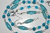 "MBA #B6-198  ""Blue Glass, TQ & Crystal Bead Necklace & Matching Earring Set"""