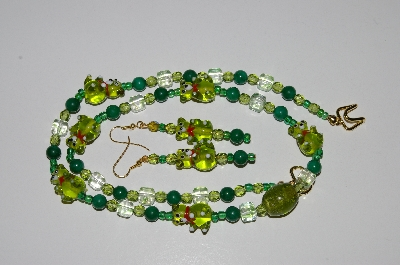 "MBA #B6-176  ""Fancy Green Glass Bear,Gemstone & Glass Bead Necklace & Earring Set"""