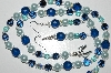 "MBA #B6-173  ""Blue Crystal,Glass Bead & Pearl Necklace & Matching Earring Set"""