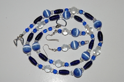 "MBA #B6-161  ""Blue Fiber Optic, Crystal & Glass Bead Necklace & Earring Set"""
