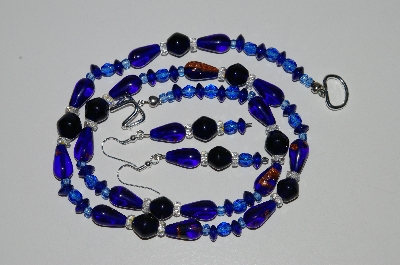 "MBA #B6-149  ""Fancy Blue Glass Bead & Clear Crystal Necklace & Matching Earring Set"""