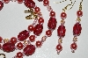 "MBA #B6-140  ""Cranberry Glass Bead & Pearl Necklace & Matching Earrong Set"""
