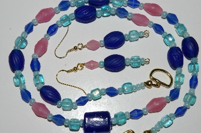 "MBA #B6-192  ""Blue & Pink Glass Bead Necklace & Matching Earring Set"""