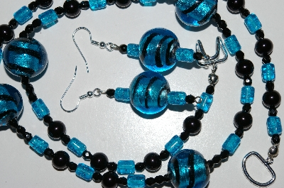 "MBA #B6-143  ""Fancy Blue Lamp Worked Glass Bead Necklace & Matching Earring Set"""