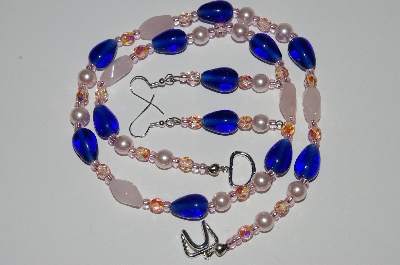 "MBA #B6-146  ""Rose Quartz,Blue Glass & Pearl Necklace & Matching Earring Set"""
