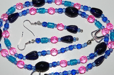 "MBA #B6-043  ""Fancy Blue & Pink Glass Bead Necklace & Earring Set"""