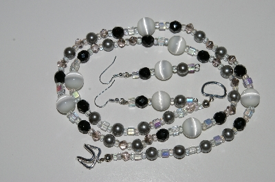 "MBA #B6-133  ""White Fiber Optic, Black Crystal, Grey Glass Pearl & Glass Bead Necklace & Earring Set"""