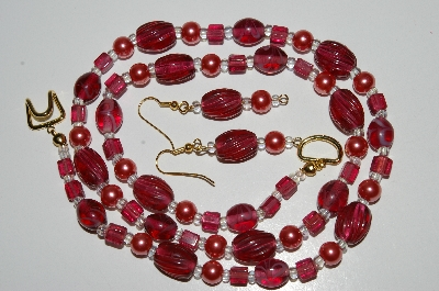 "MBA #B6-059  ""Fancy Cranberry Glass Bead & Pearl Necklace & Matching Earring Set"""