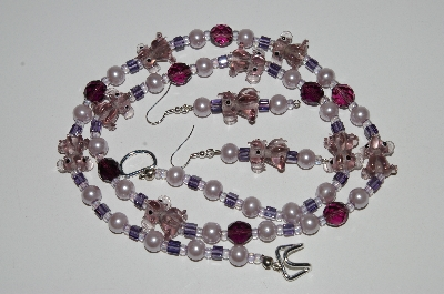 "MBA #B6-124  ""Lavender Glass Elephants, Bead, Pearl & Purple Crystal Bead Necklace & Earring Set"""