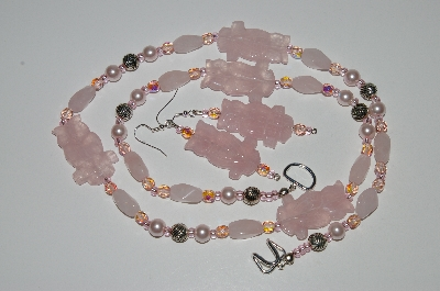 "MBA #B6-115  ""Fancy Rose Quartz ""Owl"", Glass Bead & Pearl Necklace & Matching Earring Set"""