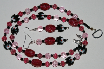 "MBA #B6-112  ""Fancy Black Cat,Cranberry Glass & Black Crystal Bead Necklace & Matching Earring Set"""