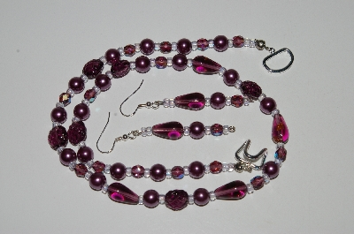 "MBA #B6-106  ""Fancy Purple Glass Bead & Pearl Necklace & Matching Earring Set"""