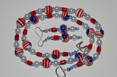 "MBA #B6-109  ""Fancy Flag, Red Glass & Pearl Necklace & Matching Earring Set"""