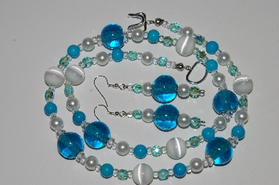 "MBA #B6-103  ""White Fiber Optic, Blue Glass, Blue Gemstone, Clear Crystal & Pearl Necklace & Matching Earring Set"""