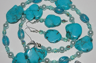 "MBA #B6-094  ""Turquoise, Blue Glass Bead & Pearl Necklace & Matching Earring Set"""