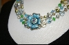 **Sweet Romance  Aqua Wild Roses Necklace