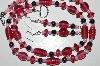 "MBA #B6-034  ""Cranberry Glass Bead & Hemalyke Necklace & Matching Earring Set"""