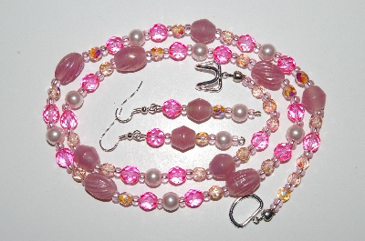 "MBA #B6-028  ""Fancy Pink Glass Bead & Pearl Necklace & Matching Earring Set"""