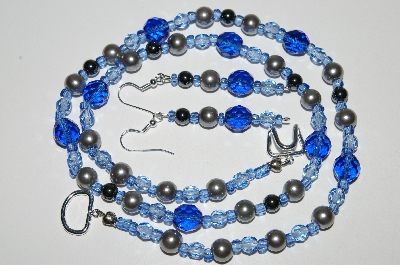 "MBA #B6-090  ""Fancy Blue Crystal, Pearl & Hemalyke Bead Necklace & Matching Earring Set"""