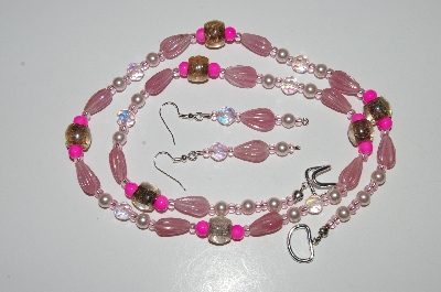 "MBA #B6-025  ""Fancy Pink Glass, Pearl & Crystal Bead Necklace & Matching Earring Set"""