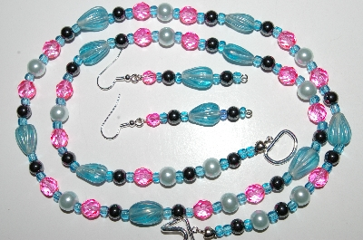 "MBA #B6-022  ""Fancy Blue,Pink Glass, Pearl & Hemalyke Bead Necklace & Matching Earring Set"""