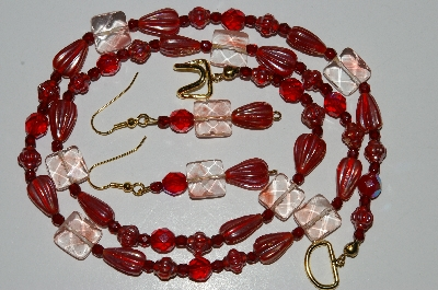 MBA #B6-068  :Fancy Glass Bead, Red Luster & Red Crystal Bead Necklace & Matching Earring Set""