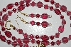 "MBA #B6-079  ""Fancy Cranberry Glass & Pearl Necklace & Matching Earring Set"""