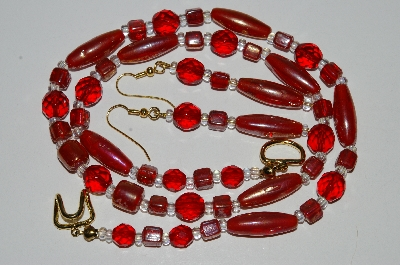 "MBA #B6-062  ""Red Luster Glass Bead & Crystal Necklace & Matching Earring Set"""