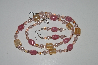 "MBA #B6-003  ""Fancy Pink Glass Bbead & Pearl Necklace & Matching Earring Set"""