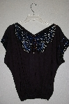 "MBAHB #19-007 ""1980's Bali Emerald Black One Of A Kind Hand Beaded Butterfly Top"""