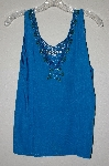 "MBAHB #19-002  ""1980's Tropical Nights Blue Rayon Hand Beaded Tank"""
