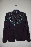 "MBAHB #19-039  ""1970""s Judy Knapp One Of A Kind Hand Beaded Western Top"""