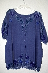 "MBAHB #19-199  ""Jane Ashley 1990's Blue Rayon One Of A Kind Hand Beaded Top"""