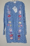 "MBAHB #19-129  ""Victor Costa Blue Floral Embroidered Sweater Coat"""