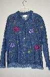 "**MBAHB #19-182  ""Susan Graver Fringed Jean Jacket With Floral Embroidery"""