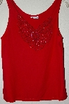 "MBAHB #19-060  ""Surya 1980's Red Rayon One Of A Kind Hand Beaded Tank"""