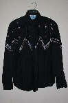"MBAHB #19-167  ""Soutnwest Canyon Fancy Black Hand beaded One Of A Kind Western Shirt"""