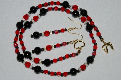 "MBAHB #19-263  ""Black Onyx, Red & Ab Crystal & Red Fire Polished Bead Necklace & Matching Earring Set"""
