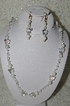 "MBAHB #19-282  ""Howlite, AB Crystal Butterflys & Frosted Fire Polished Glass Bead Necklace & Earring Set"""