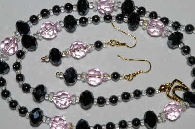 "MBAHB #19-257  ""Hemalyke, Black Matalic Crystal, AB Clear Crystal & Pink Glass Bead Necklace & Earring Set"""