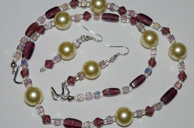 "MBAHB #19-350  ""Large Yellow Glass Pearls, Purple Glass & Square AB Lavender Glass Bead Necklace & Earring Set"""