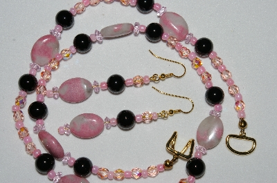 "MBAHB #19-278  ""Pink Gemstone, Black Onyx, Pink AB Fire Polished Glass Bead Necklace & Earring Set"""