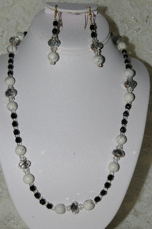 "MBAHB #19-245  ""Howlite, Fancy Matalic Finish Crystal, Clear AB Crystals & Black Fire Polished Bead Necklace & Earring Set"""