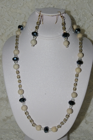 "MBAHB #19-273  ""River Stone, Fancy Black Matalic Crystal, Fancy AB Clear Crystal & Smoke Fire Polished Glass Bead Necklace & Earring Set"""