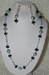 "MBAHB #19-229  ""Large Blue Glass Pearls, Fancy Matalic Black Crystals, Clear AB Crystal & Frosted Blue Fire Polished Glass Bead Necklace & Earring Set"""