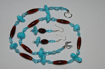 "MBAHB #19- 383  ""Turquoise,Brown & Blue Glass Bead Necklace & Earring Set"""