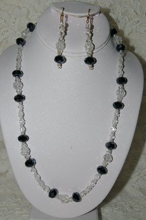 "MBAHB #19-234  ""Cracked Rock Crystal,Fancy Faceted Black Crystal, Ab Clear Crystal & Clear Fire Polished Glass Bead Necklace & Earring Set"""