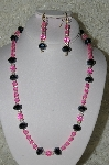 "MBAHB #19-431  ""Fancy Cut Black Matalic Crystals, Clear AB Crystals & Bright Pink Fire Polished Glass Bead Necklace & Earring Set"""